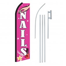 Nails Pink & White Swooper Flag Bundle