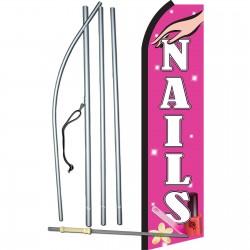 Nails Pink & White Swooper Flag Bundle