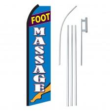 Foot Massage Blue & White Swooper Flag Bundle