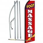 Foot Massage Red & White Swooper Flag Bundle