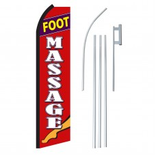 Foot Massage Red & White Swooper Flag Bundle