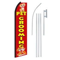 Pet Grooming Red & Yellow Swooper Flag Bundle