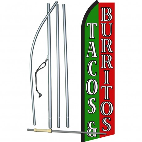 Tacos & Burritos Green & Red Swooper Flag Bundle