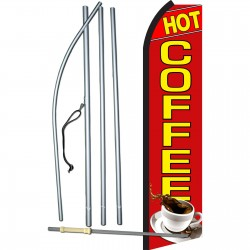 Hot Coffee Red Swooper Flag Bundle