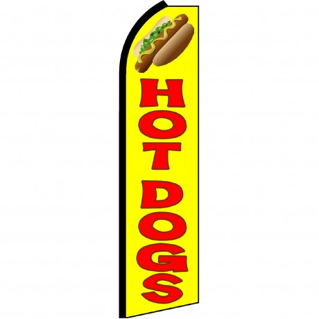 Hot Dogs Yellow Swooper Flag