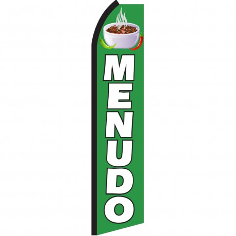 Menudo Green & White Swooper Flag