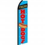 Fresh Hot Dogs Blue Swooper Flag