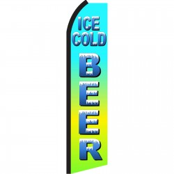 Ice Cold Beer Green & Blue Swooper Flag