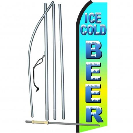 Ice Cold Beer Green & Blue Swooper Flag Bundle
