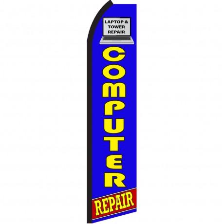 Computer Repair Blue Swooper Flag