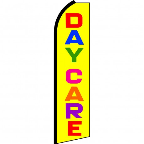 Day Care Yellow Rainbow Letters Swooper Flag