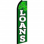 Loans Green & White Swooper Flag