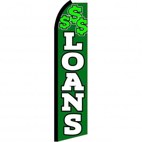 Loans Green & White Swooper Flag