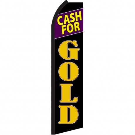 Cash For Gold Black Purple Swooper Flag