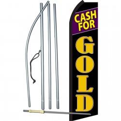 Cash For Gold Black Purple Swooper Flag Bundle