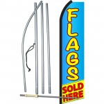 Flags Sold Here Blue Yellow Swooper Flag Bundle