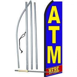 ATM Here Blue Swooper Flag Bundle