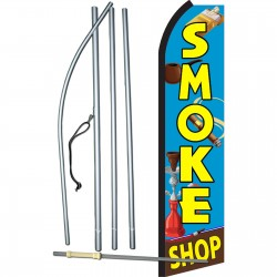 Smoke Shop Blue Swooper Flag Bundle