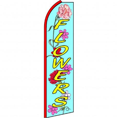 Flowers Blue Yellow Swooper Flag