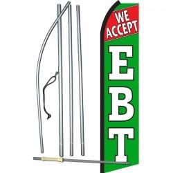 We Accept EBT Green Swooper Flag Bundle