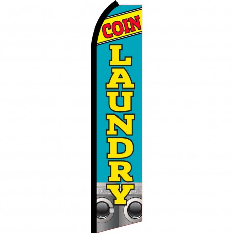 Coin Laundry Blue Swooper Flag