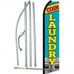 Coin Laundry Blue Swooper Flag Bundle