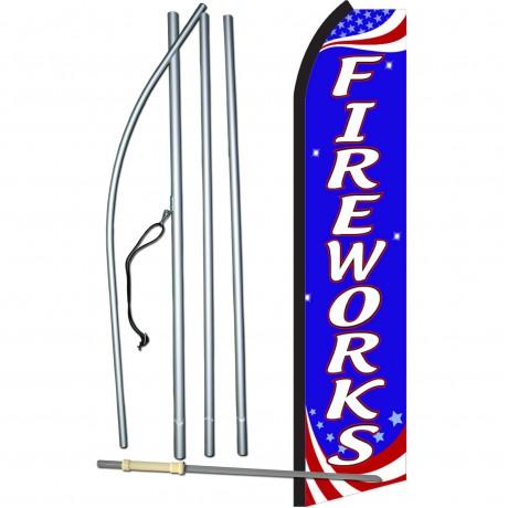 Fireworks Red, White & Blue Swooper Flag Bundle