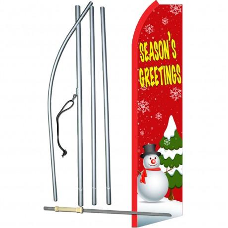 Seasons Greetings Red Swooper Flag Bundle
