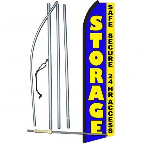 Storage Blue Safe Secure 24 Hr Access Swooper Flag Bundle
