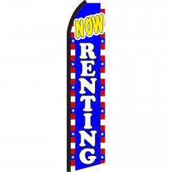 Now Renting Red, White & Blue Swooper Flag