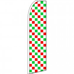 Checkered Extra Wide Red, White & Green Swooper Flag