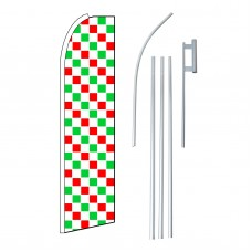 Checkered Extra Wide Red, White & Green Swooper Flag Bundle