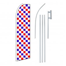 Checkered Extra Wide Red, White & Blue Swooper Flag Bundle