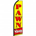 Pawn Shop Yellow Red Extra Wide Swooper Flag