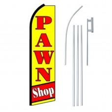 Pawn Shop Yellow Red Extra Wide Swooper Flag Bundle