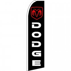 Dodge Ram Black Red Extra Wide Swooper Flag