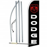 Dodge Ram Black Red Extra Wide Swooper Flag Bundle