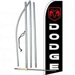 Dodge Ram Black Red Extra Wide Swooper Flag Bundle