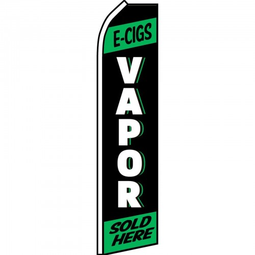 E-Cigs Vapor Sold Here Green /& Black Swooper Super Feather Advertising Flag