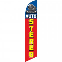 Auto Stereo Red Speakers Swooper Flag