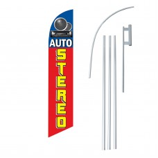 Auto Stereo Red Speakers Swooper Flag Bundle