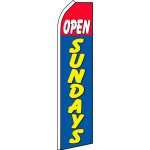 Open Sundays Blue Swooper Flag