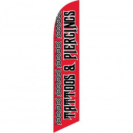 Tattoos & Piercings Red Windless Swooper Flag