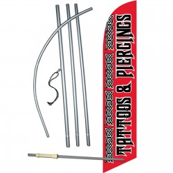 Tattoos & Piercings Red Windless Swooper Flag Bundle