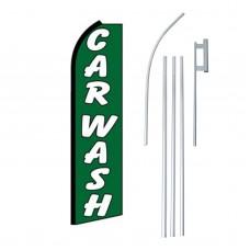Car Wash Green Swooper Flag Bundle