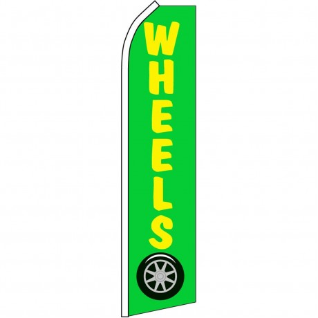 Wheels Yellow & Green Swooper Flag