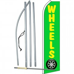 Wheels Yellow & Green Swooper Flag Bundle