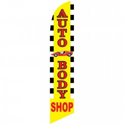 Auto Body Shop Windless Swooper Flag