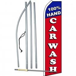 100% Hand Car Wash Red Blue Swooper Flag Bundle