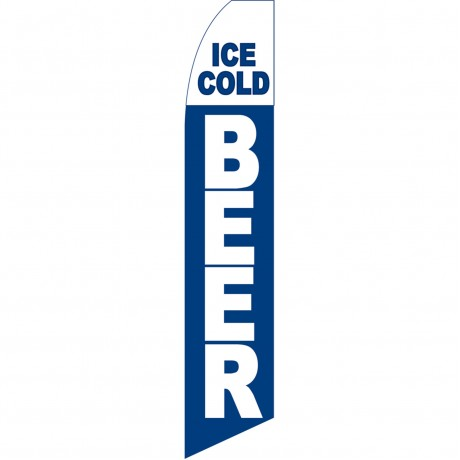 Ice Cold Beer Blue Swooper Flag